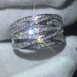 BACK IN STOCK Sapphire Crossover Band   Ring